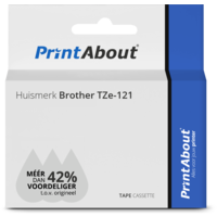 Huismerk Brother TZe-121 Tape Zwart op transparant (9 mm)