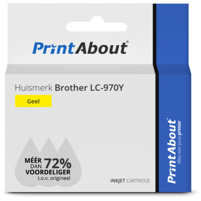 Huismerk Brother LC-970Y Inktcartridge Geel