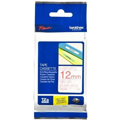 Labeltape Brother P-touch TZE132 12mm rood op transparant