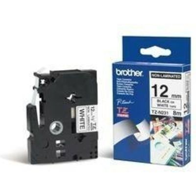 Labeltape Brother P-touch TZEN231 12mm zwart op wit