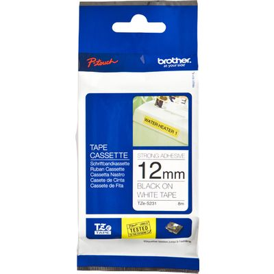 Labeltape Brother P-touch TZES231 12mm zwart op wit