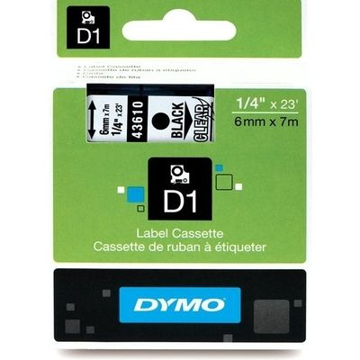 Dymo 43610 (S0720770) Tape Zwart op transparant (6 mm)