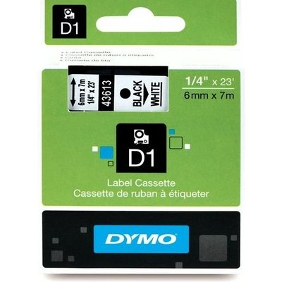 Dymo 43613 (S0720780) Tape Zwart op wit (6 mm)