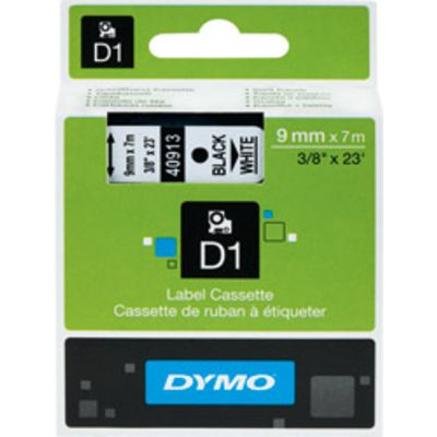 Dymo 40913 (S0720680) Tape Zwart op wit (9 mm)