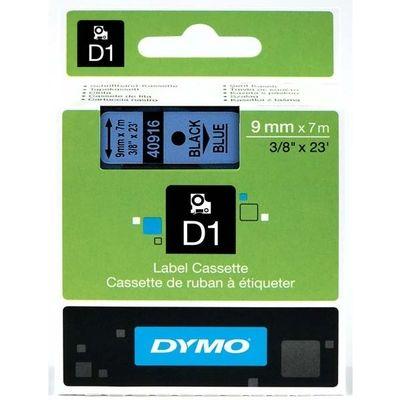 Labeltape Dymo 40916 D1 720710 9mmx7m zwart op blauw