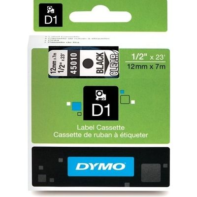 Dymo 45010 (S0720500) Tape Zwart op transparant (12 mm)