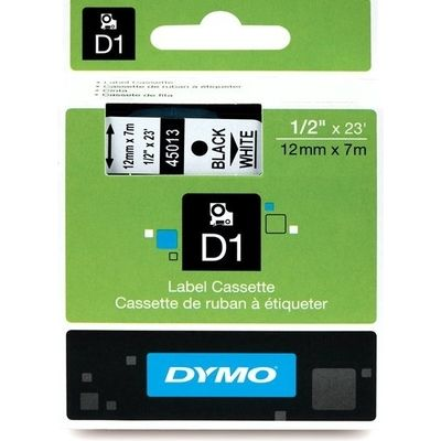 Dymo 45013 (S0720530) Tape Zwart op wit (12 mm)