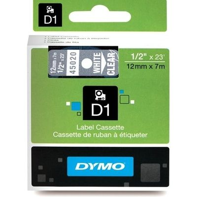 Dymo 45020 (S0720600) Tape Wit op transparant (12 mm)