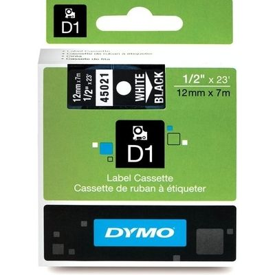Dymo 45021 (S0720610) Tape Wit op zwart (12 mm)