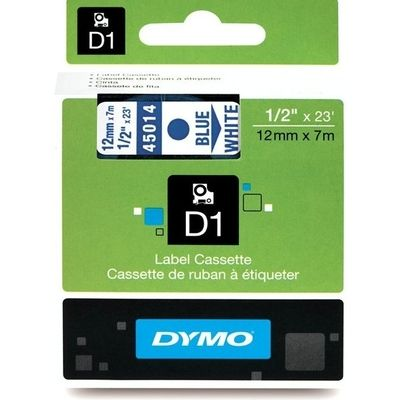 Labeltape Dymo 45014 D1 720540 12mmx7m blauw op wit