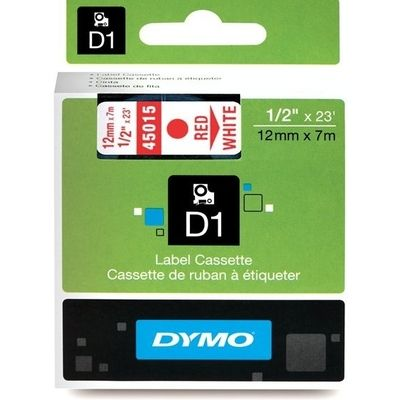 Dymo 45015 (S0720550) Tape Rood op wit (12 mm)