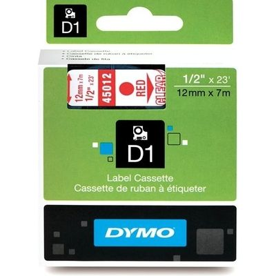 Dymo 45012 (S0720520) Tape Rood op transparant (12 mm)