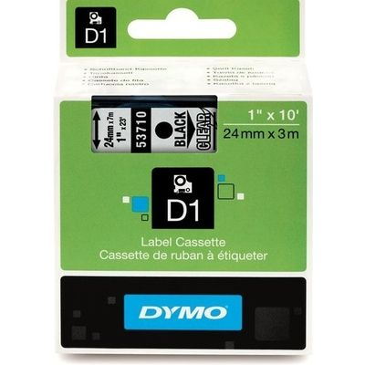 Dymo 53710 (S0720920) Tape Zwart op transparant (24 mm)