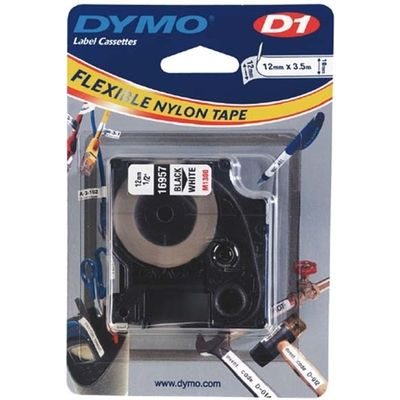 Labeltape Dymo 16957 D1 718040 12mmx3.5m nylon zwart op wit