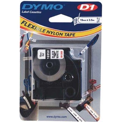 Labeltape Dymo 16958 D1 718050 19mmx3.5m nylon zwart op wit