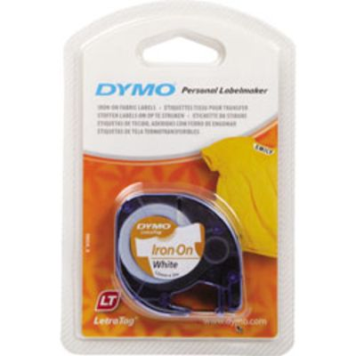 Labeltape Dymo Letratag 18769 strikbaar 12mm zwart op wit