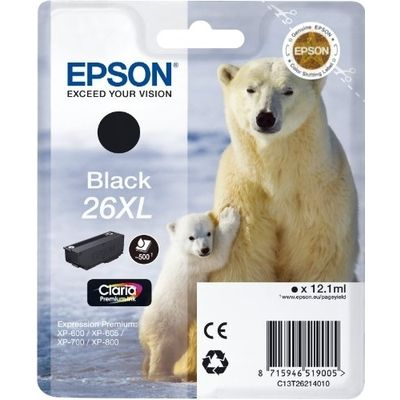 Epson C13T26214012 12.1ml 500pagina's Zwart inktcartridge