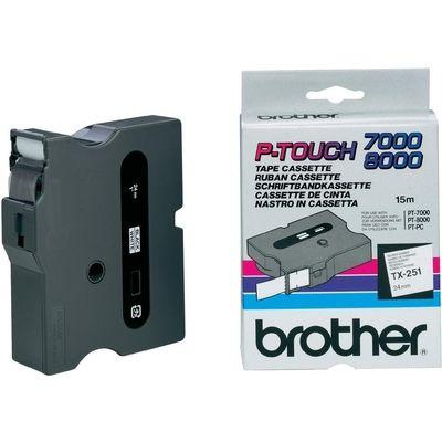 LABELTAPE BROTHER TX-251 24MMX8M WIT-ZWART