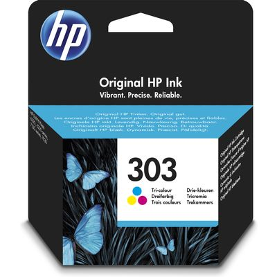 HP 303 Tri-color Original 4ml 165pagina's Cyaan, Geel inktcartridge