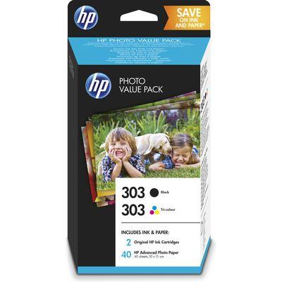 HP 303 foto value pack zwart-drie-kleuren en 40 vel 10 x 15 cm